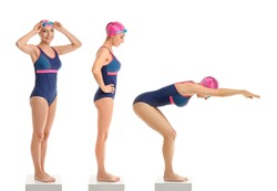 Collage of sporty female swimmer on white background