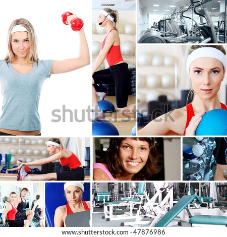 Collage of sporty pictures people equipment.