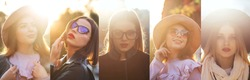 Collage of street style photos with adorable girls posing with rays of sun