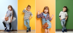 Collage of stylish cute kids posing on color background