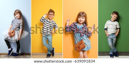 Photo of Collage of stylish cute kids posing on color background