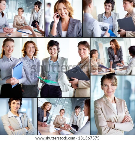 Collage of successful businesswomen at work