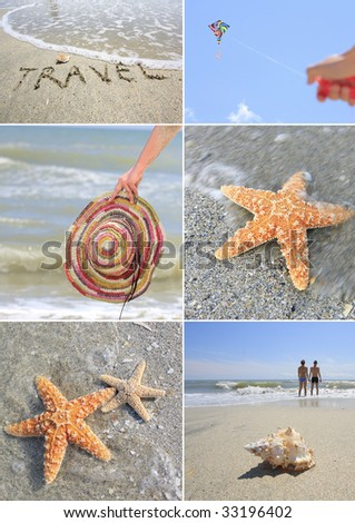Collage of summer beach images.