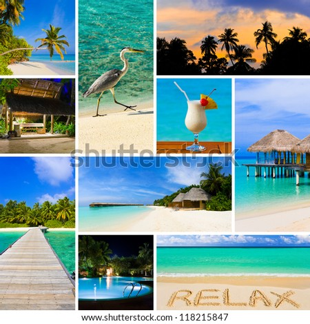 Collage of summer beach maldives images - nature and travel background