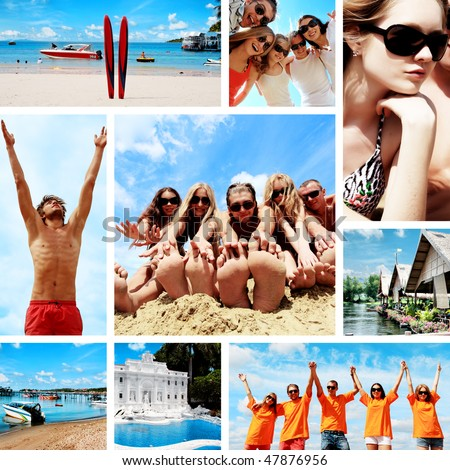 Collage of summer pictures with young people on the beach.