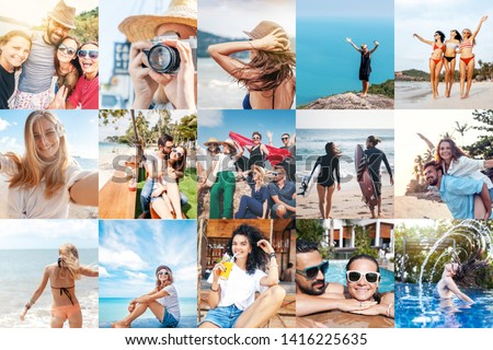 Collage of summer pictures with young people on the beach. Template collection set of images