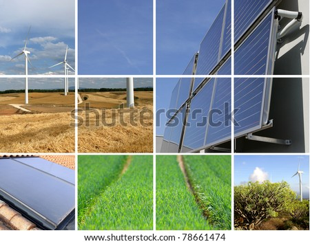 Collage of sustainable energy