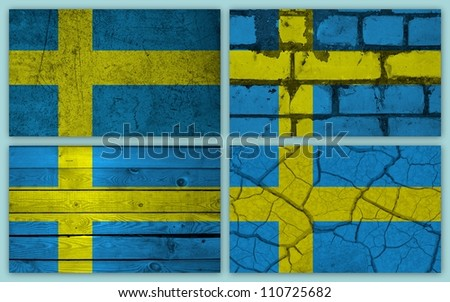 Collage of swedish flag with different texture backgrounds