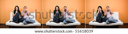 Collage of terrified couple watching TV a horror movie and facial expressions