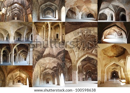 Collage of the ancient colonnades. Mandu, India
