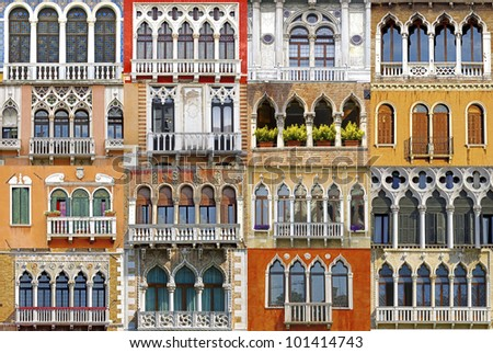 Collage of the ancient unique Venetian balconies.