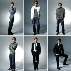 Collage of the male on light background