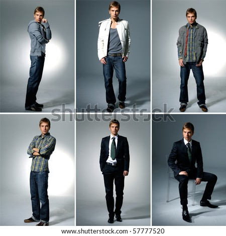 Collage of the male on light background - stock photo