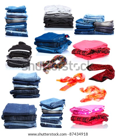 collage of the piles of clothes and women's scarves. isolated on white