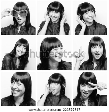 Collage of the same woman making diferent expressions. #223599817