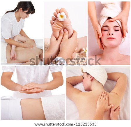 Collage of therapist making different massage in spa salon