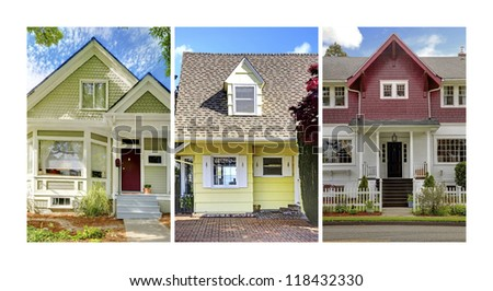 Collage of three home exteriors. Cute old craftsman style American homes front.