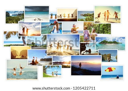 Collage of tropical photos with landscapes and peoples. Sea vacations concept #1205422711