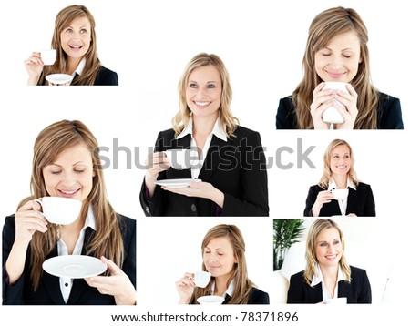 Collage of two blonde women enjoying some coffee