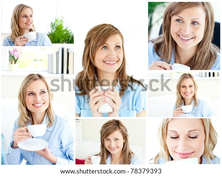 Collage of two blonde women enjoying some coffee at home