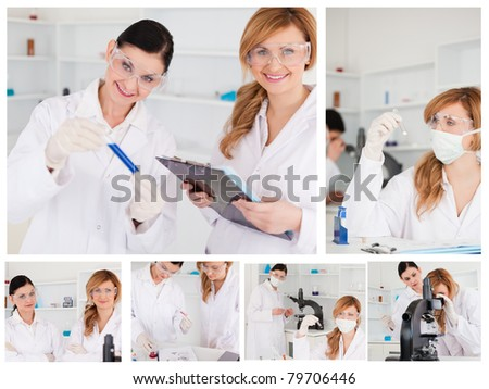 Collage of two female scientists doing experiments in a lab