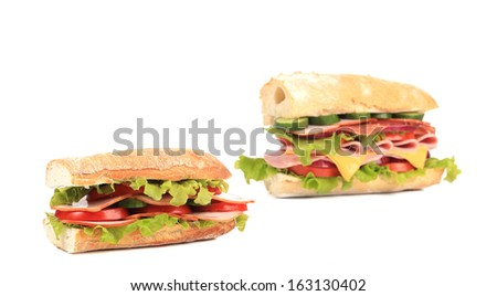 Collage of two fresh sandwiches. Isolated on a white background.