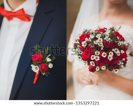 Collage of two photos of floral traditional details of wedding decor of bride and groom. Red and white small cute boutonniere pinned to black suit of groom and beautiful flowers in hands of young brid