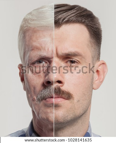 Collage of two portraits of the same old and young man. Face lifting, aging and skincare concept for men. Comparison between old and young faces. Youth and old age. Process of aging and rejuvenation