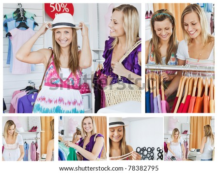 Collage of two smiling women doing shopping