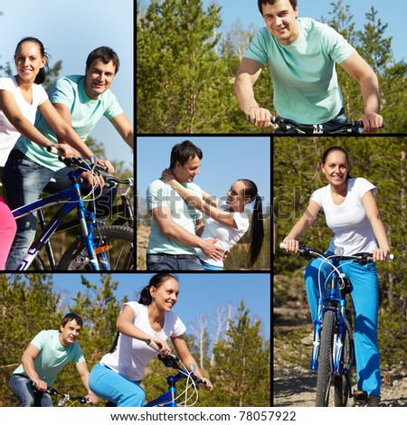 Collage of two young people on bikes