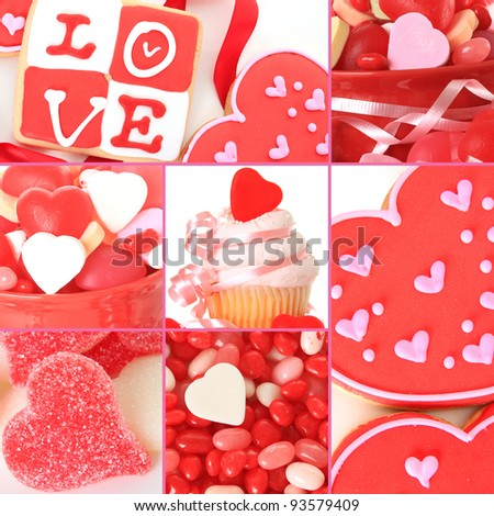Collage of valentine's day candy, cookies and cupcakes.