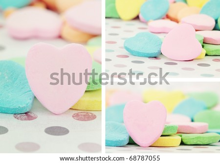 Collage of Valentine's Day heart shaped candy with selective focus. Some blur in foreground. Blank for your copy space.