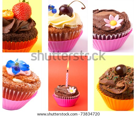 Collage of various cupcakes: vanilla, chocolate, strawberry in decorative cups