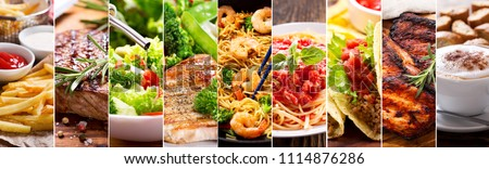 collage of various food products #1114876286