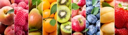 collage of various fresh fruits as background
