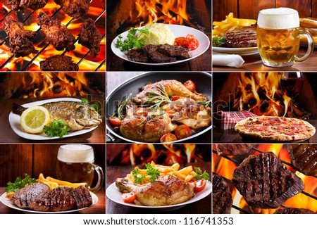 collage of various meals with meat, fish and chicken