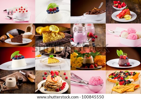 collage of various photo of delicious desserts