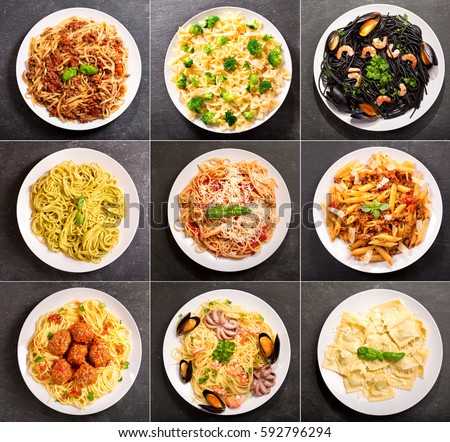 Shutterstock collage of various plates of pasta on dark background, top view