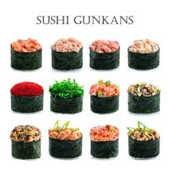 collage of various sushi gunkan japanese restaurant menu on white background, Sushi gunkans collection isolated