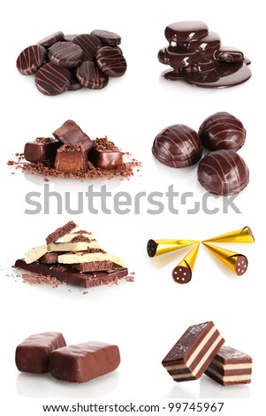 collage of various sweet candies and biscuits isolated on white background - stock photo