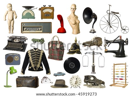 collage of vintage products...