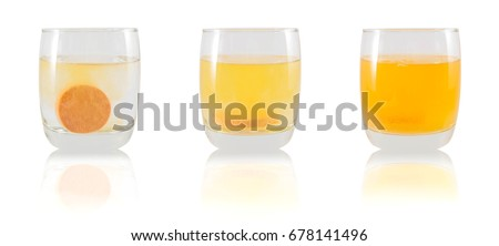Collage of vitamin c tablet pills with orange flavor dissolving in glass of water isolated on white background. Vitamin/mineral supplement nutrition drinks for health care, medication and treatment.