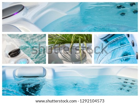 Collage of water and equpment in hot bath tubs at spa
