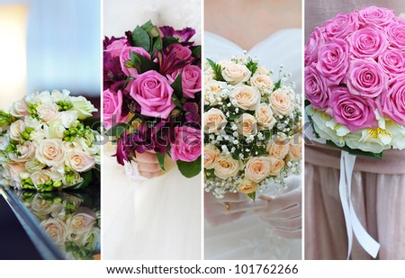 collage of wedding bouquets