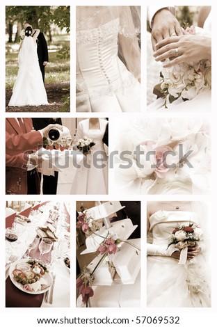 Collage of wedding photos in sepia tones
