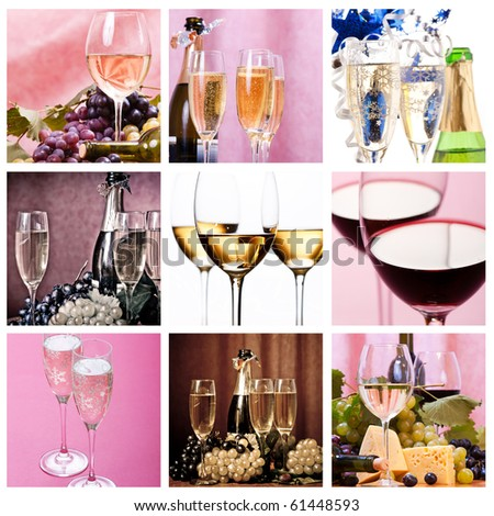 collage of wines and fizz