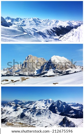 Collage of winter mountain landscapes. Snow-capped mountains, woods, rocks and blue sky. Set of scenic views