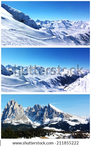 Collage of winter mountain resort landscapes. Snow-capped mountains, woods, rocks and blue sky. Set of scenic views