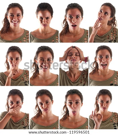 Collage of woman close up portrait with different expressions against white background.