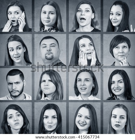 Collage of woman different emotions #415067734